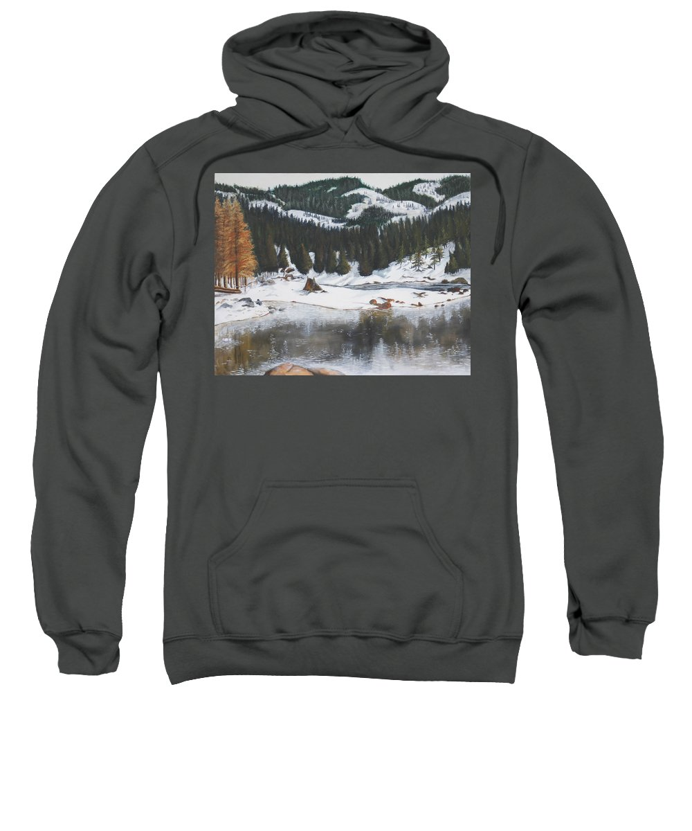 Snow Sweatshirt featuring the painting Snowy Lake by Travis Day
