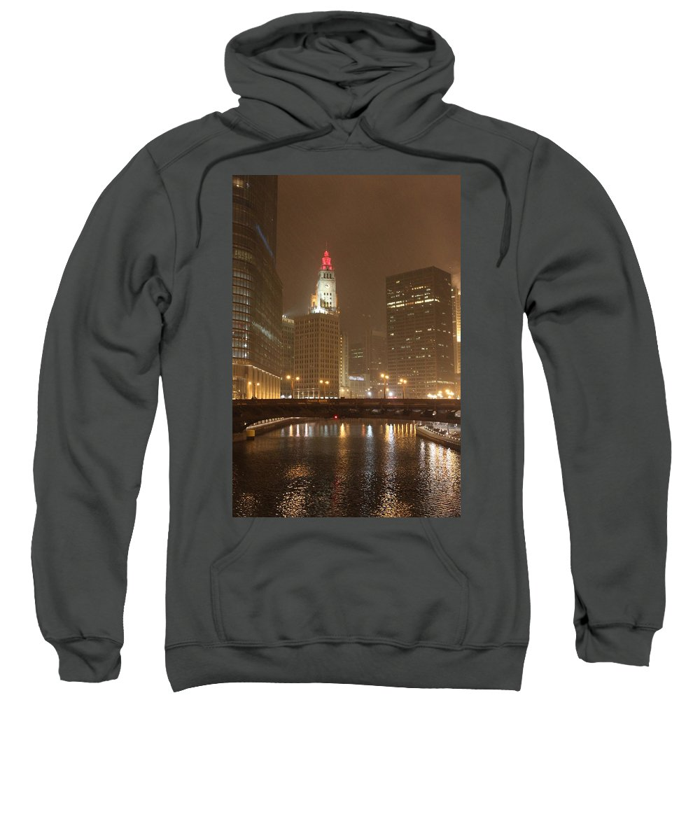 Chicago Sweatshirt featuring the photograph Snowy Night In Chicago by Lauri Novak