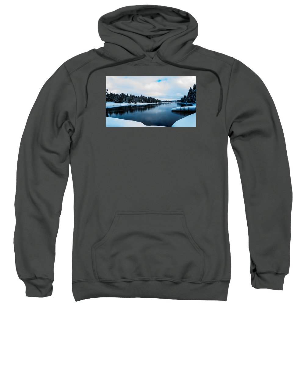 Landscape Sweatshirt featuring the photograph Snowy River Banks by Jonathan Horan