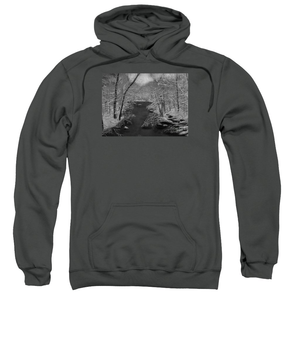 Black And White Sweatshirt featuring the painting Snowy River by Lynn Quinn
