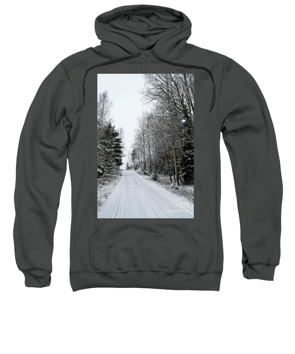 Snowy Sweatshirt featuring the photograph Snowy Road by Esko Lindell
