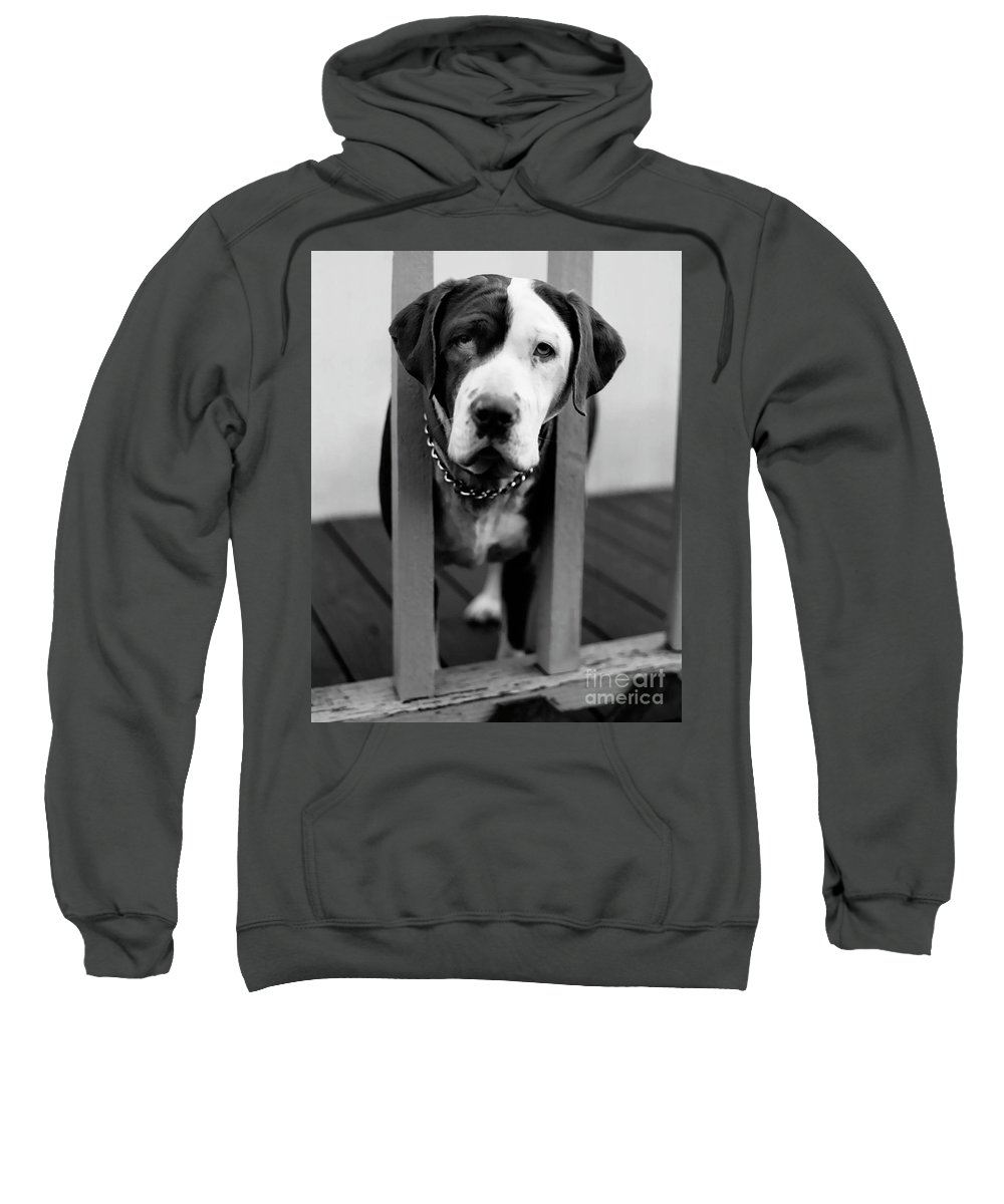 Black And White Sweatshirt featuring the photograph So Sad by Peter Piatt