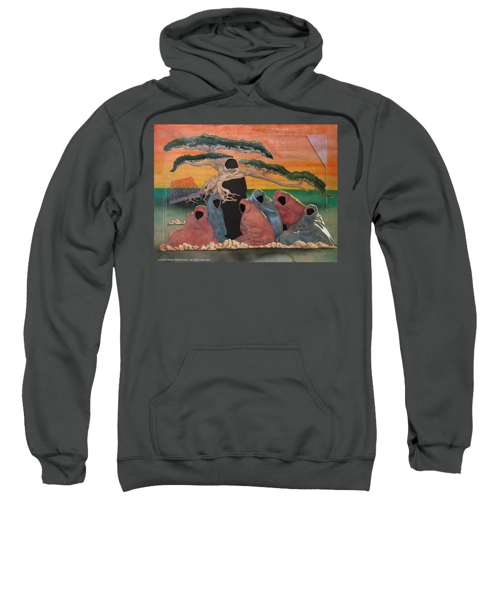 Middle East Sweatshirt featuring the painting Social Perception by Shaun McNicholas