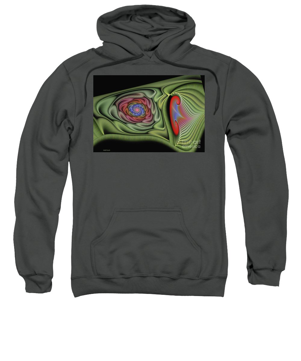 Fractal Sweatshirt featuring the digital art Soft Glamore by Deborah Benoit