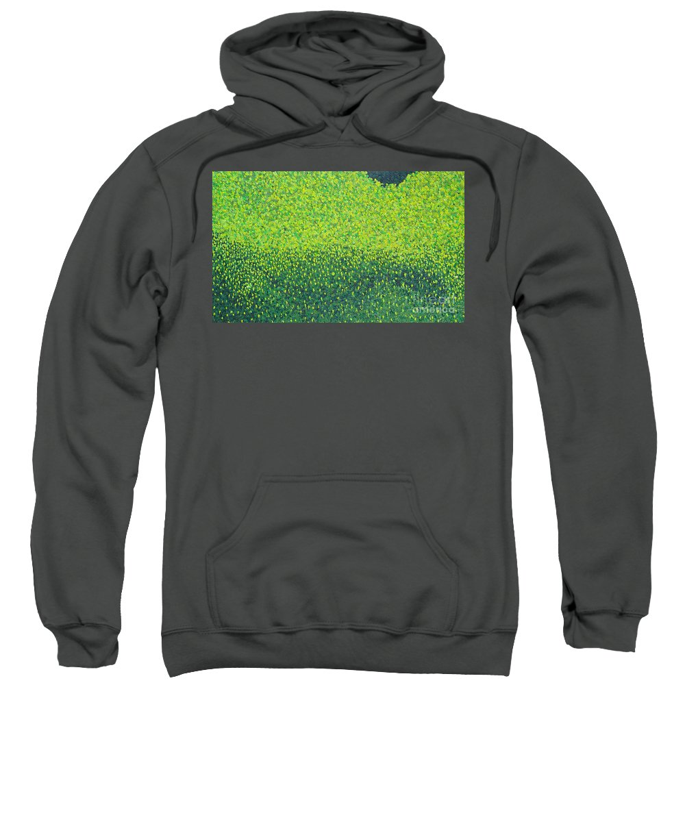 Abstract Sweatshirt featuring the painting Soft Green Wet Trees by Dean Triolo