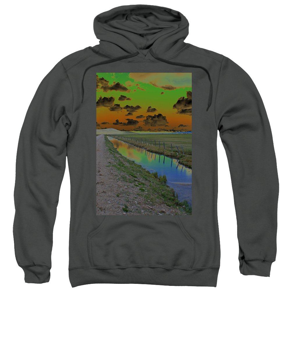Mountains. Solarized Sweatshirt featuring the photograph Solarized Sky by Heather Coen