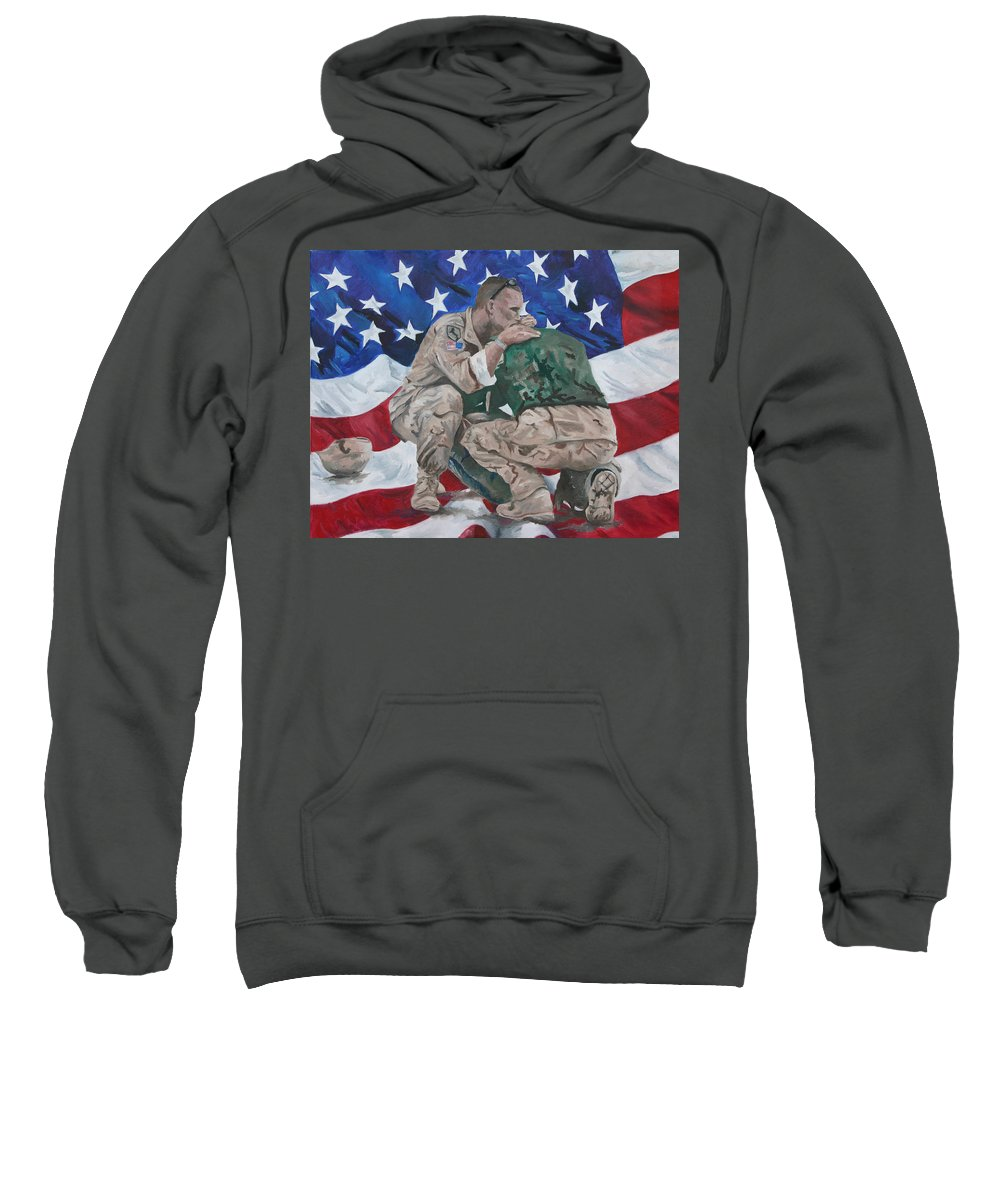 Soldiers Sweatshirt featuring the painting Soldiers by Travis Day