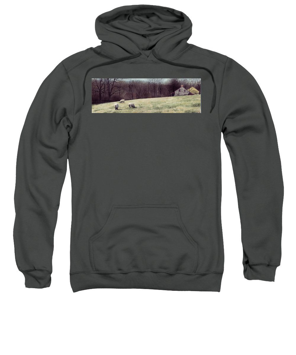 Sheep Sweatshirt featuring the painting Solitude by Denny Bond