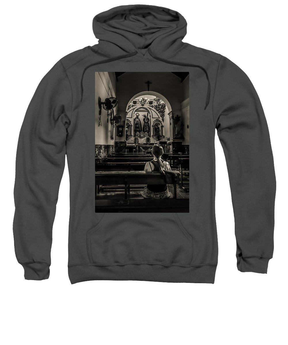 Aisle Sweatshirt featuring the photograph Solitude In Village Church by Peter Hayward Photographer