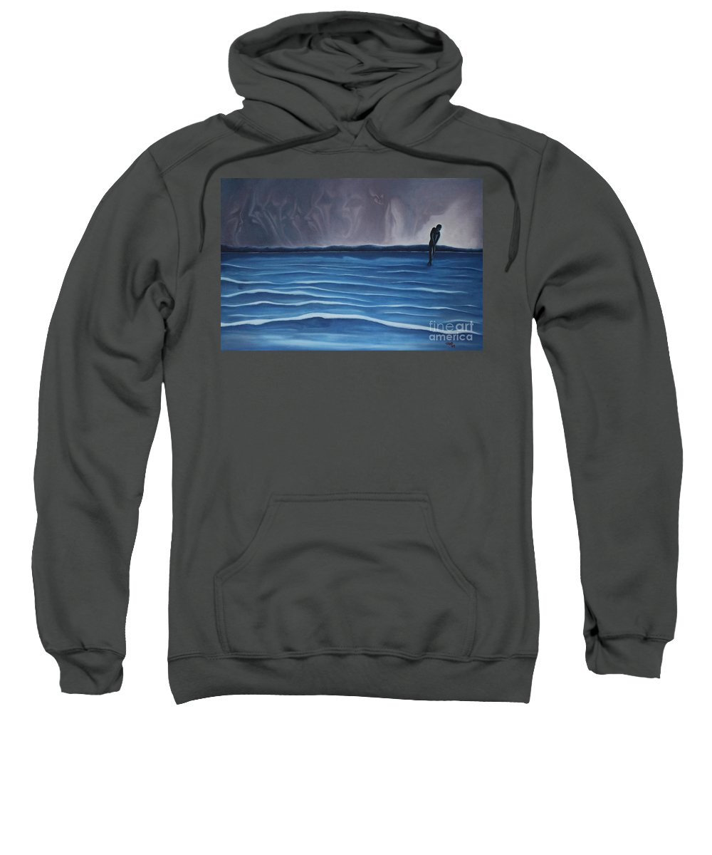 Tmad Sweatshirt featuring the painting Solitude by Michael TMAD Finney