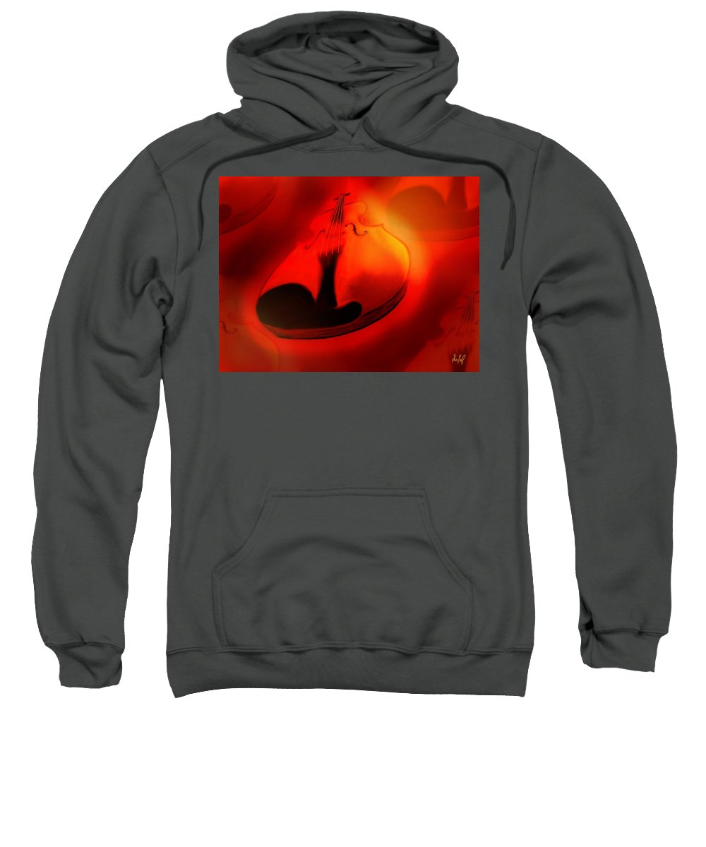 Violin Sweatshirt featuring the digital art Soloviolin by Helmut Rottler