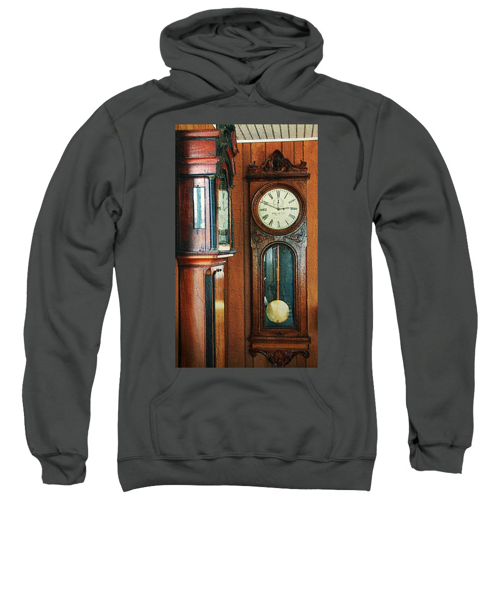 Antiques Sweatshirt featuring the digital art Somebodys Grandfathers Clocks by RC DeWinter