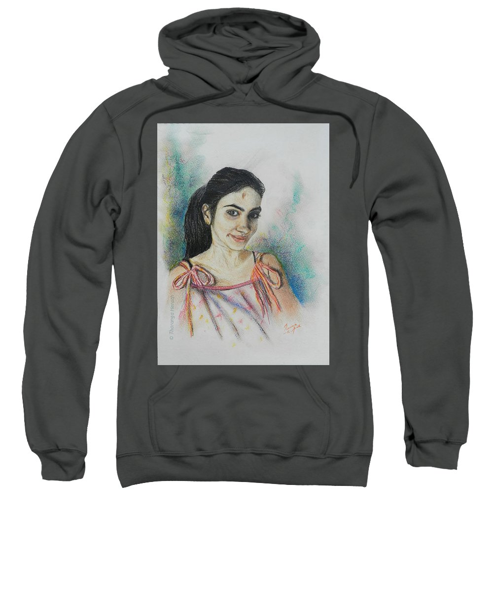 Portraits Sweatshirt featuring the painting Something Different by Tharanga Herath