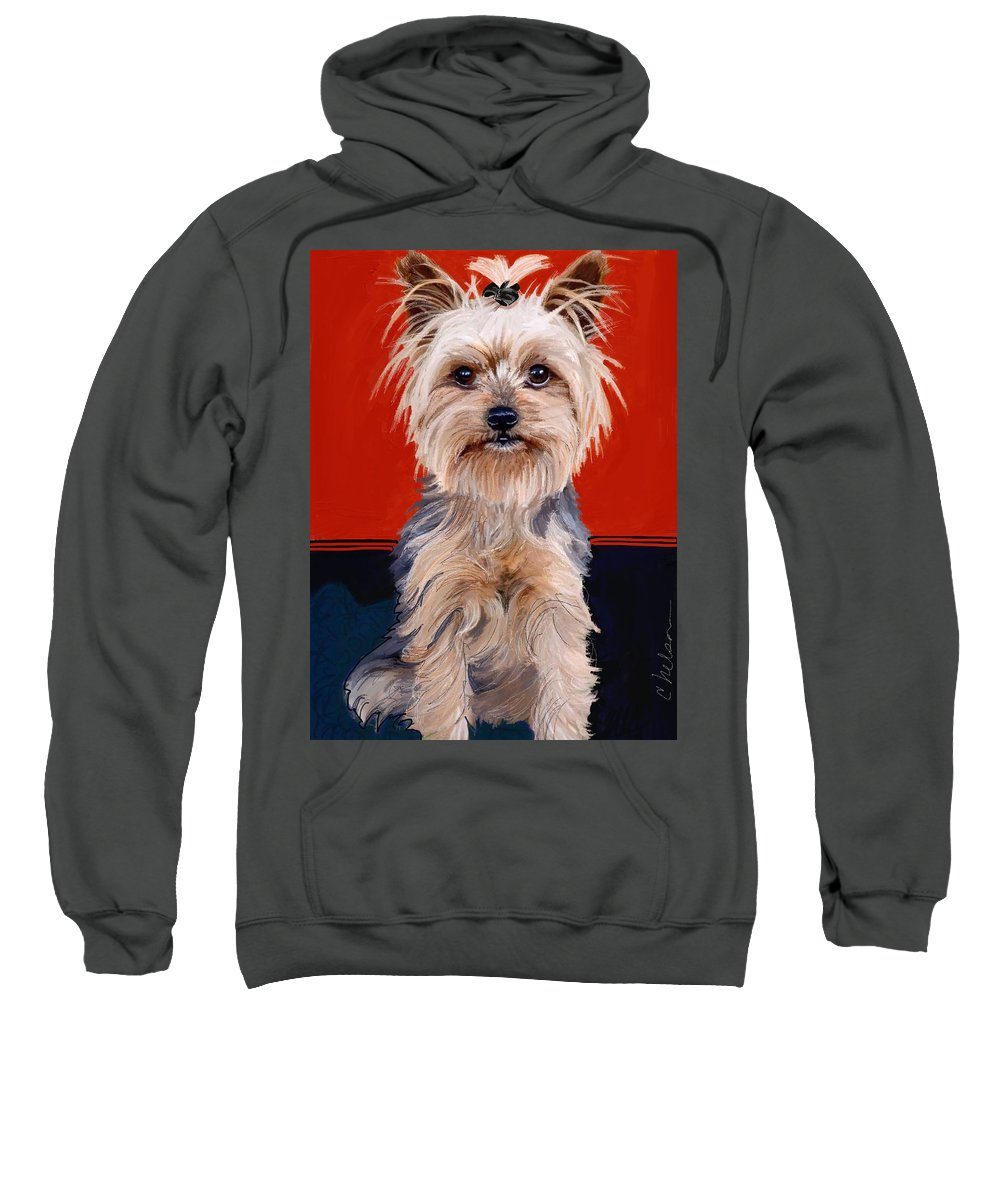 Yorkie Portrait Sweatshirt featuring the painting Soni's Baby by Craig Nelson
