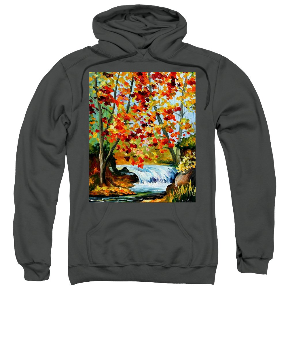 Afremov Sweatshirt featuring the painting Source by Leonid Afremov