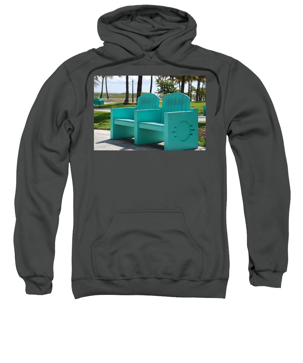 Art Deco Sweatshirt featuring the photograph South Beach Bench by Rob Hans
