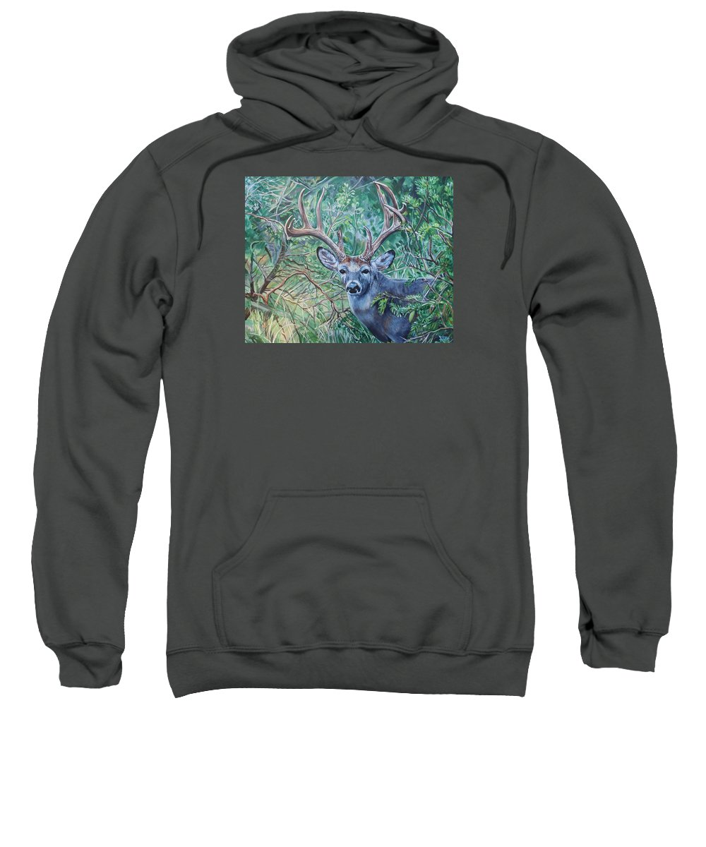 Deer Sweatshirt featuring the painting South Texas Deer In Thick Brush by Diann Baggett