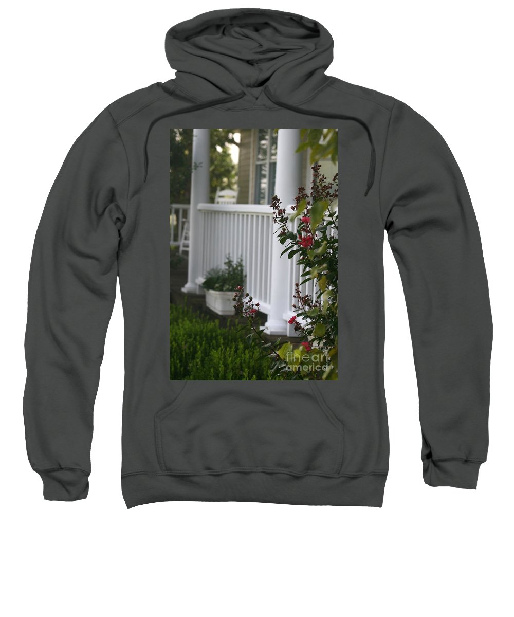 Summer Sweatshirt featuring the photograph Southern Summer Flowers And Porch by Nadine Rippelmeyer