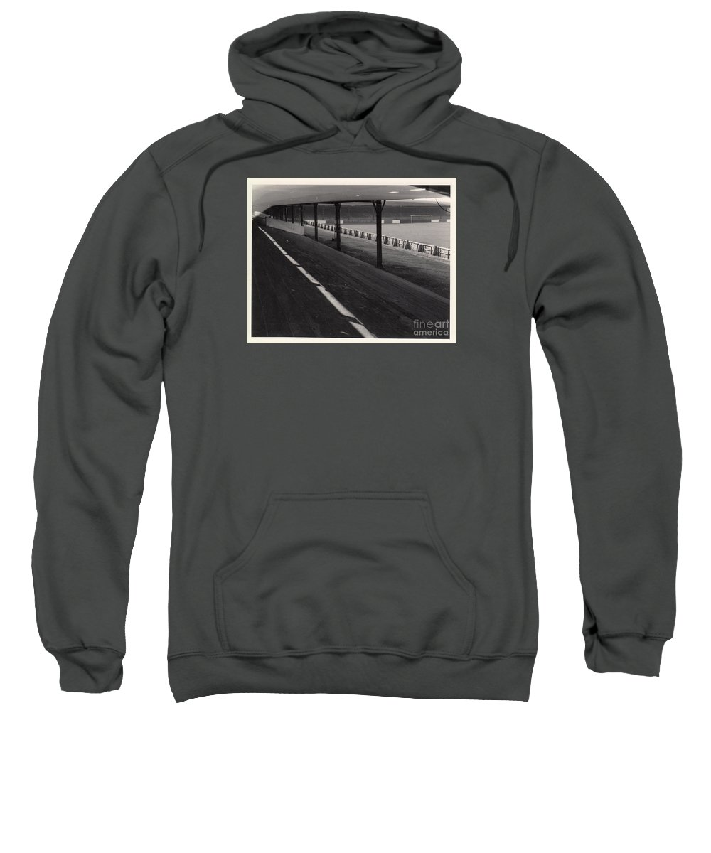 Sweatshirt featuring the photograph Southport Fc - Haig Avenue - Scarisbrick End 1 - Bw - Early 60s by Legendary Football Grounds