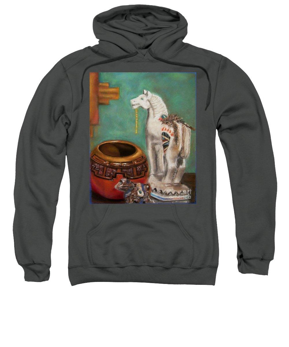 Southwest Art Sweatshirt featuring the painting Southwest Treasures by Frances Marino
