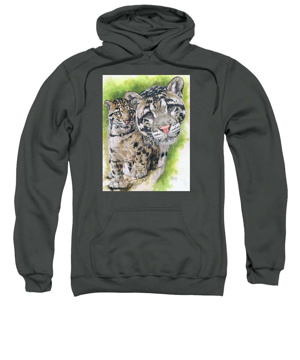 Clouded Leopard Sweatshirt featuring the mixed media Sovereignty by Barbara Keith