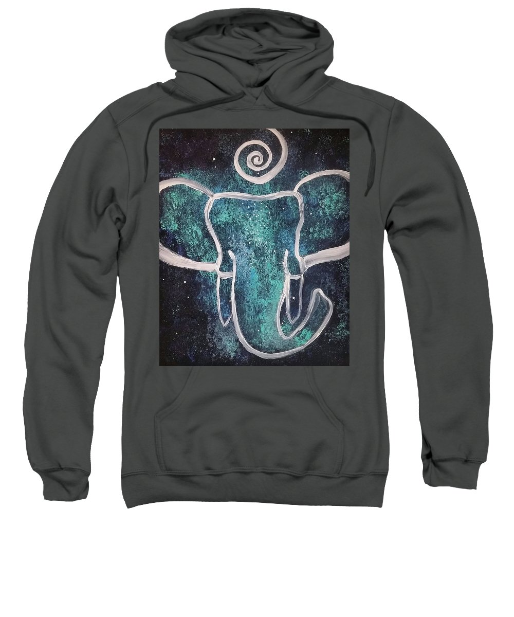 Elephant Sweatshirt featuring the painting Space Elephant Spiral 2 by Vale Anoa'i