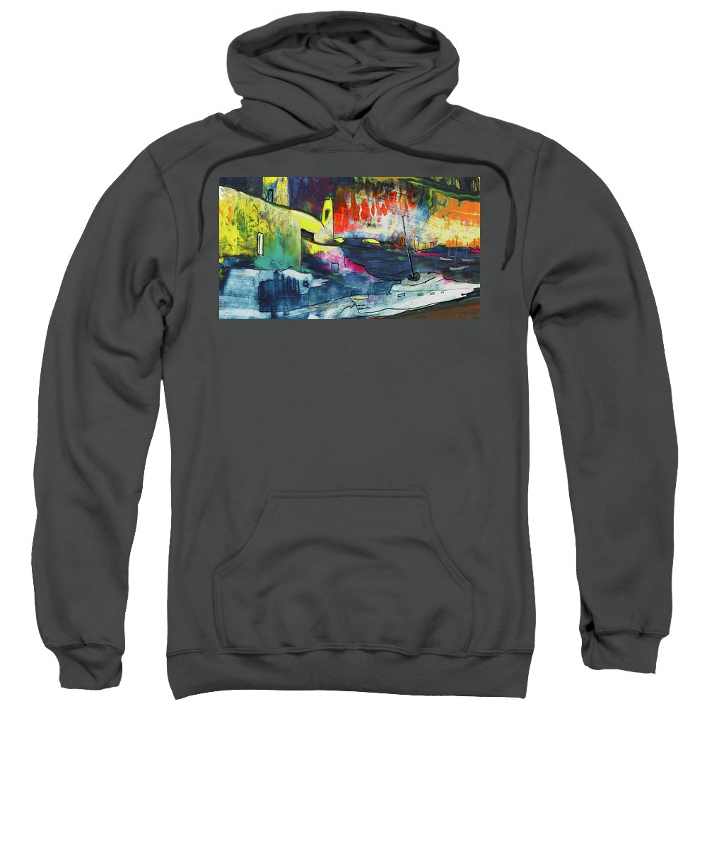 Landscapes Sweatshirt featuring the painting Spanish Harbour 01 by Miki De Goodaboom