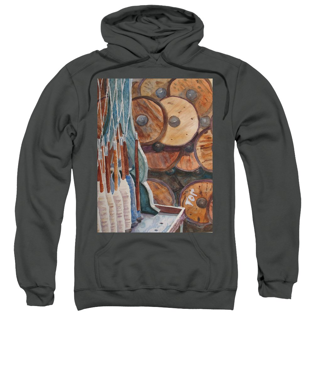Factory Sweatshirt featuring the painting Spindles And Spools by Jenny Armitage