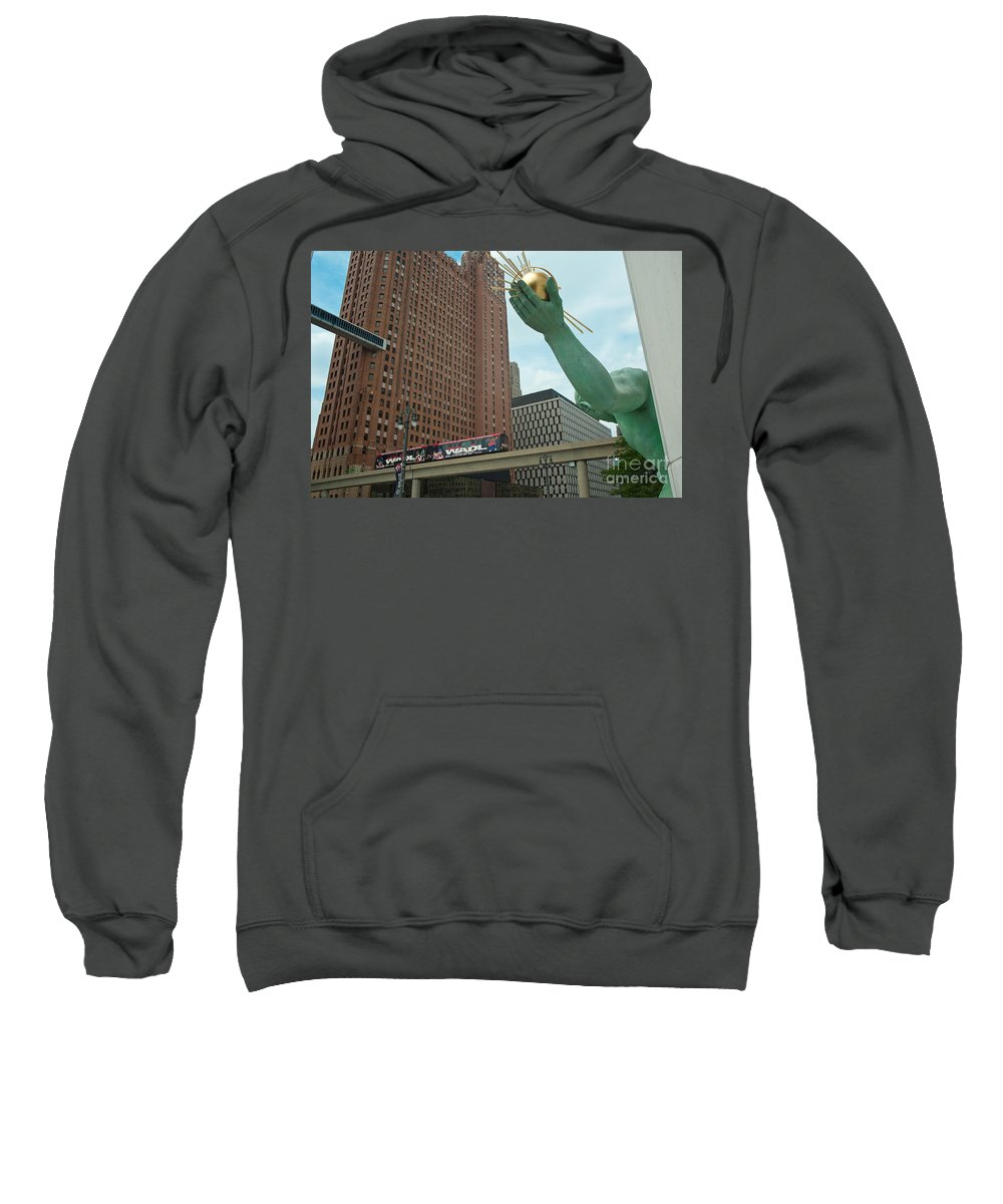 Spirit Of Detroit Sweatshirt featuring the photograph Spirit Of Detroit And People Mover by Steven Dunn