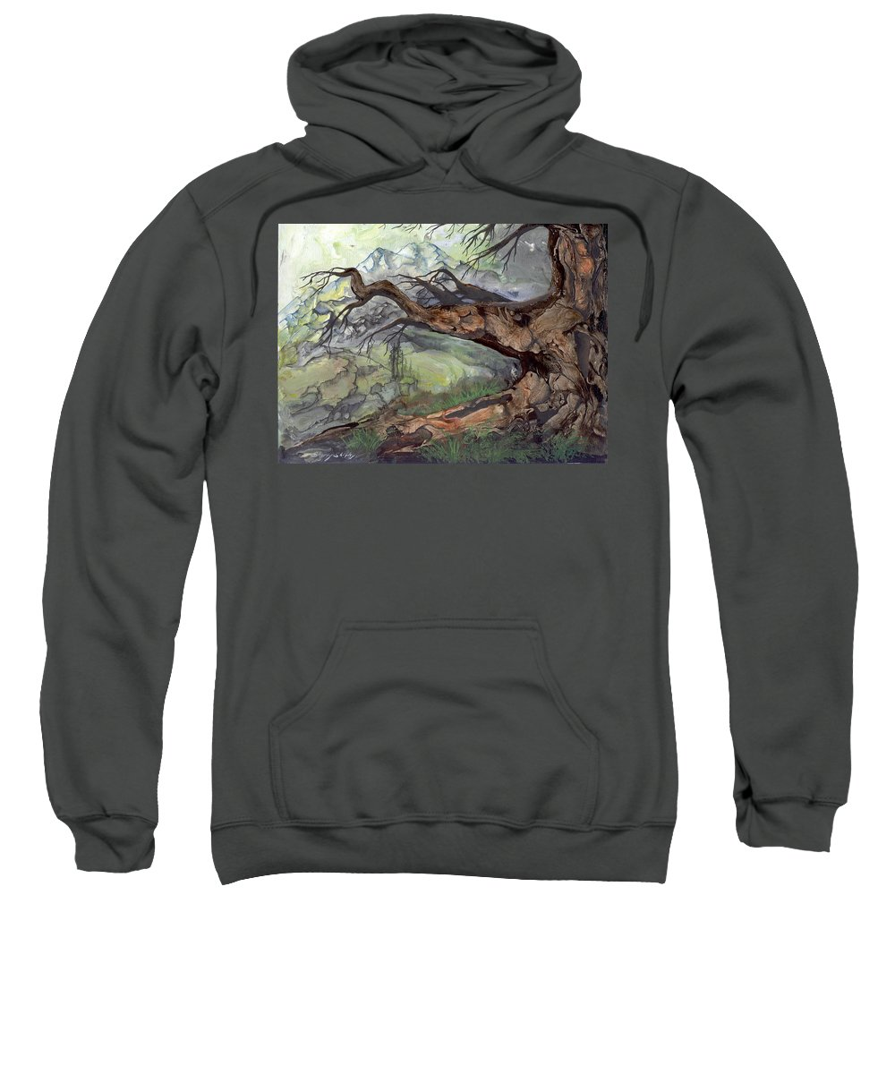 Bark Sweatshirt featuring the painting Spirit Tree by Sherry Shipley