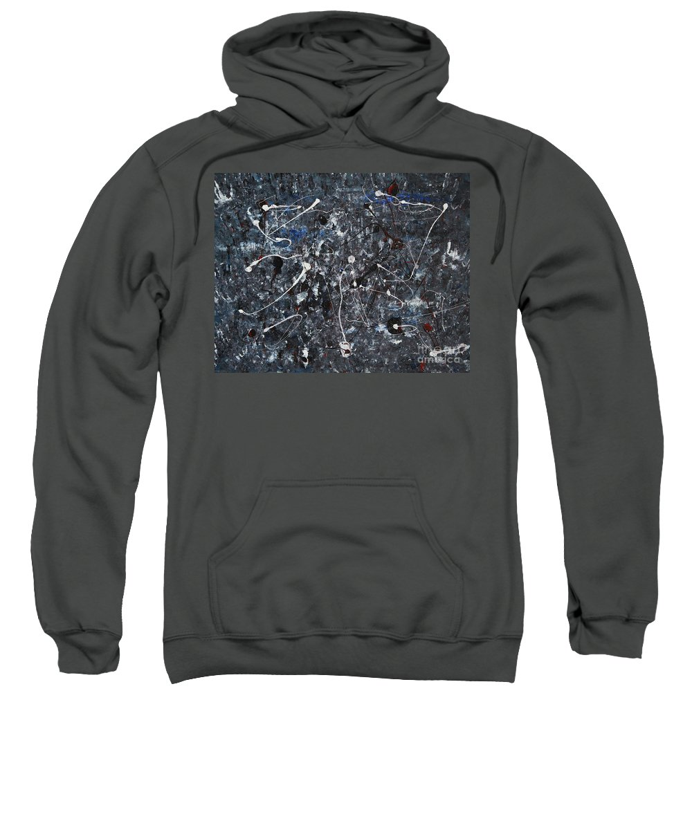 Splatter Sweatshirt featuring the painting Splattered - Grey by Jacqueline Athmann