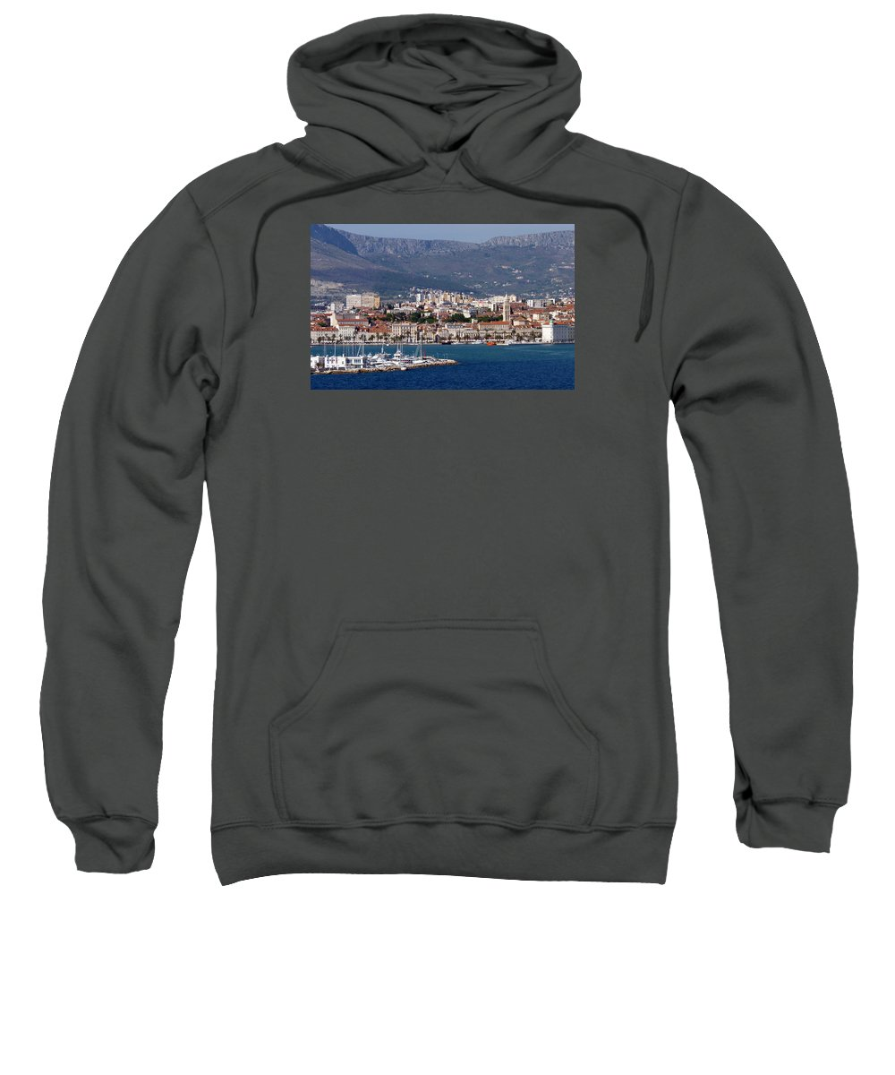 Split Sweatshirt featuring the photograph Split Croatia's Waterfront by Carla Parris