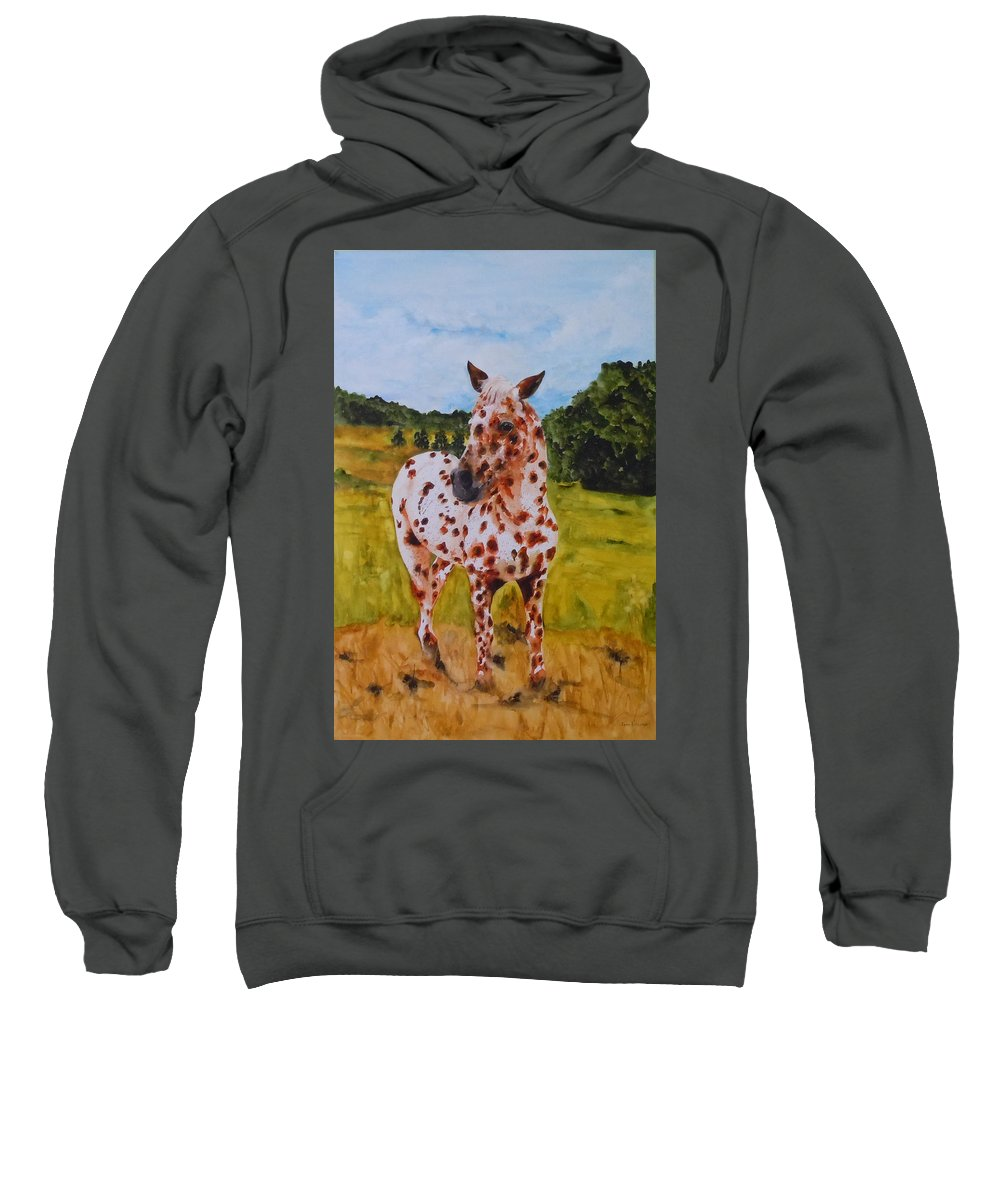 Horse Sweatshirt featuring the painting Spotted In Hawaii by Jean Blackmer