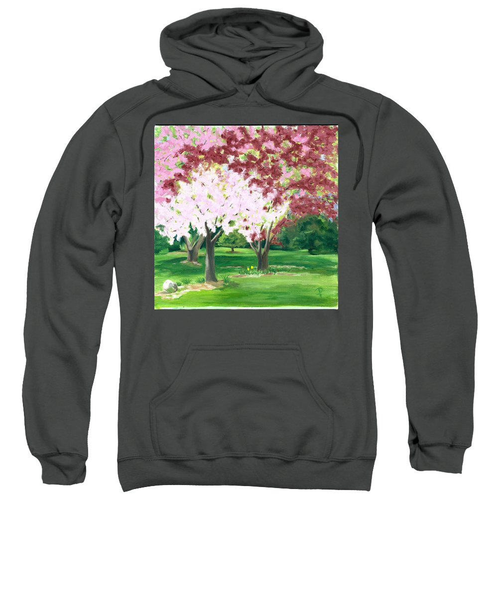 Spring Sweatshirt featuring the painting Spring at Osage Land Trust by Paula Emery