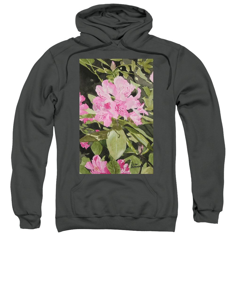 Flowers Sweatshirt featuring the painting Spring At The Cabin by Jean Blackmer