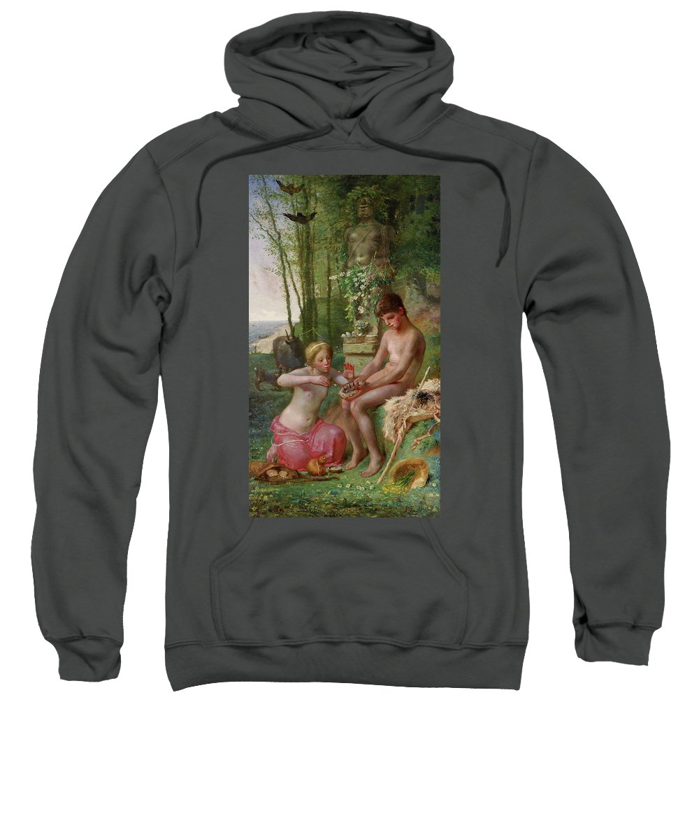 Animal Sweatshirt featuring the painting Spring, Daphnis And Chloe by Jean-Francois Millet