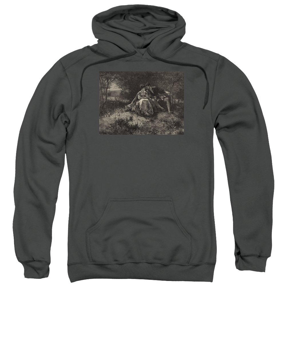 Love Sweatshirt featuring the drawing Spring by Ferdinand Heilbuth