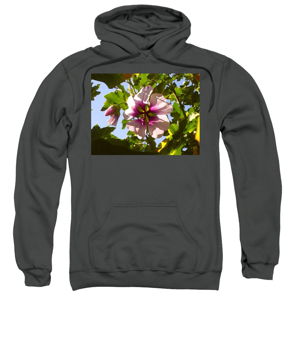 Flower Sweatshirt featuring the painting Spring Flower Peeking Out by Amy Vangsgard