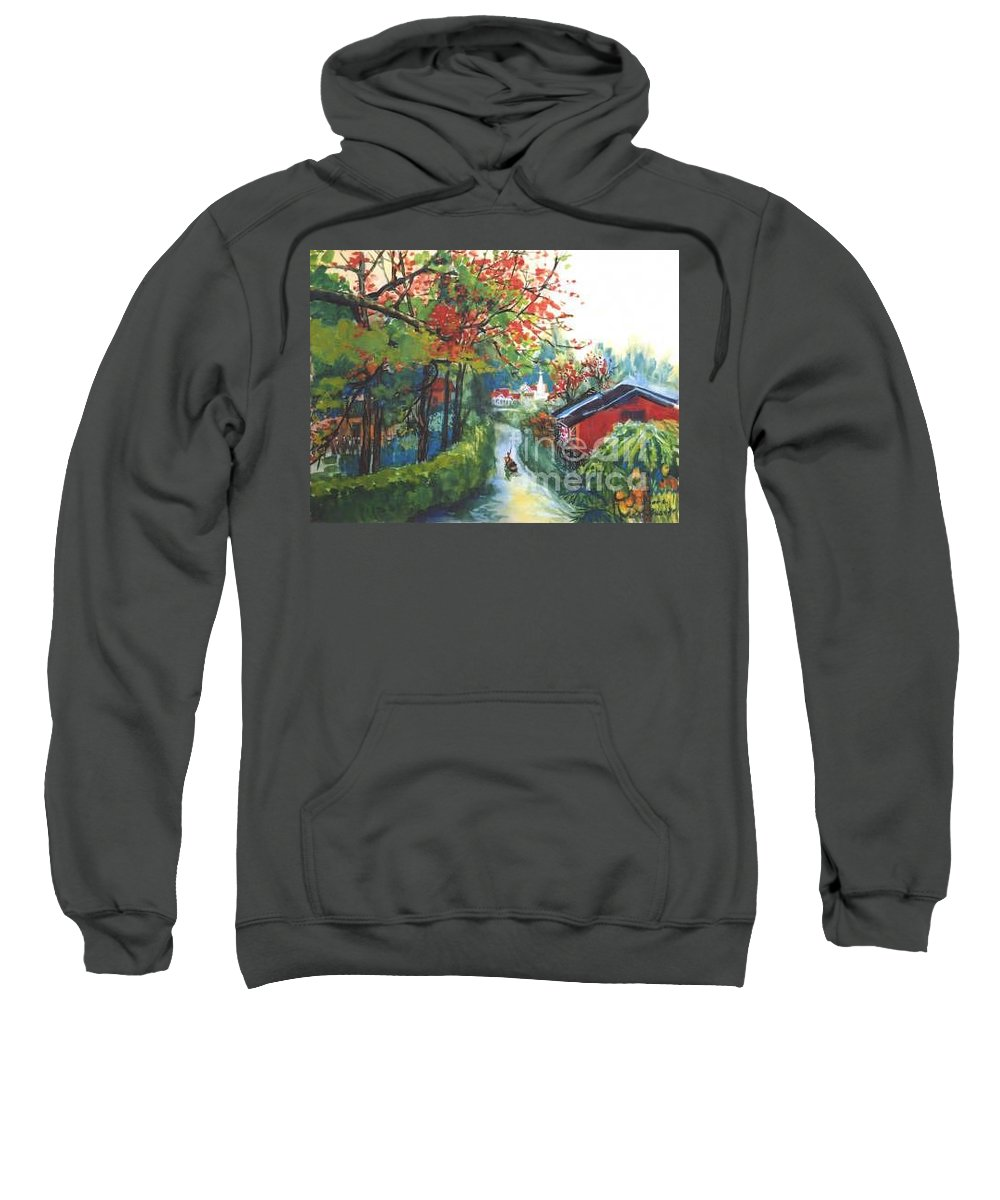 Spring Sweatshirt featuring the painting Spring In Southern China by Guanyu Shi