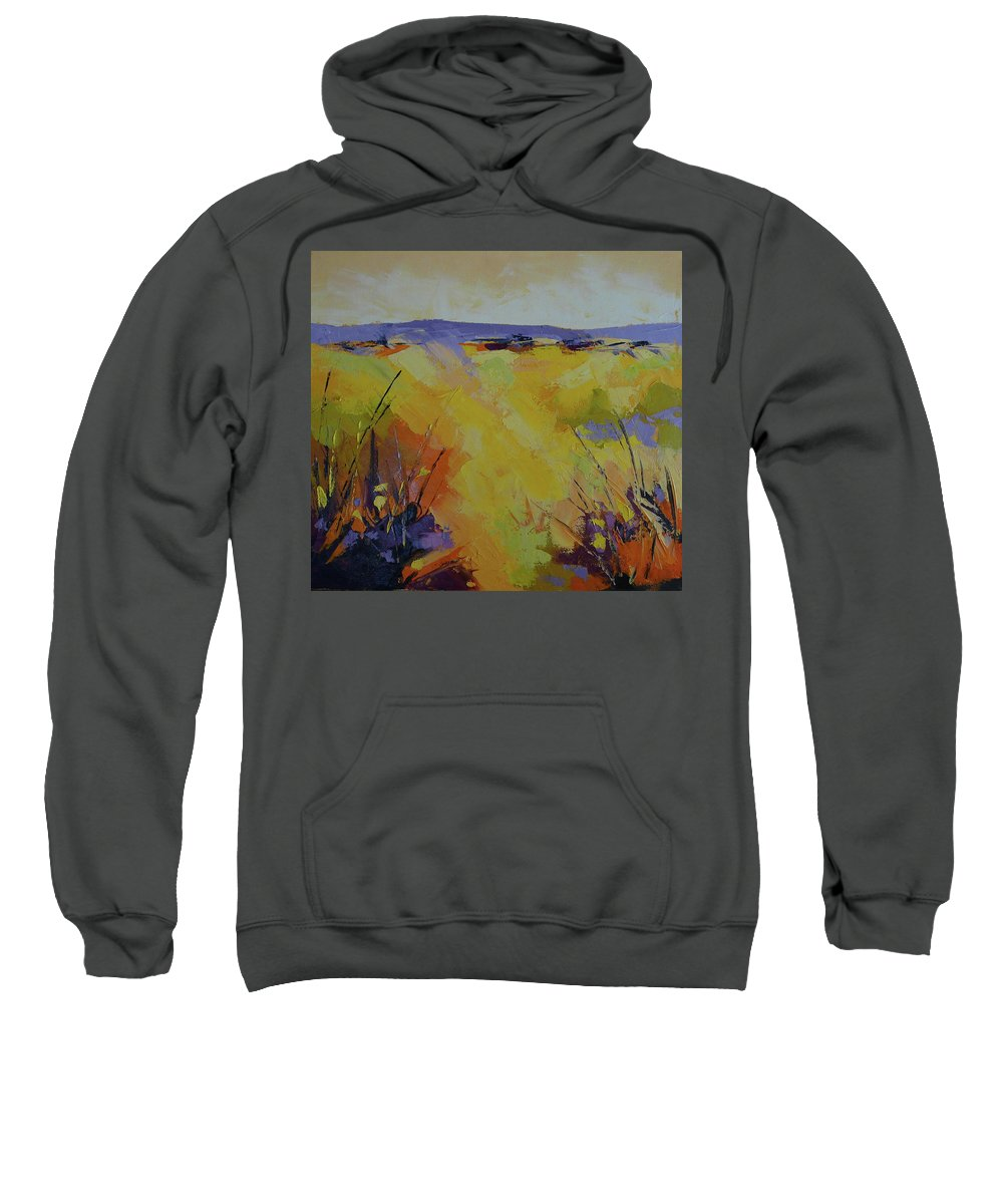 Landscape Sweatshirt featuring the painting Spring Karoo by Yvonne Ankerman