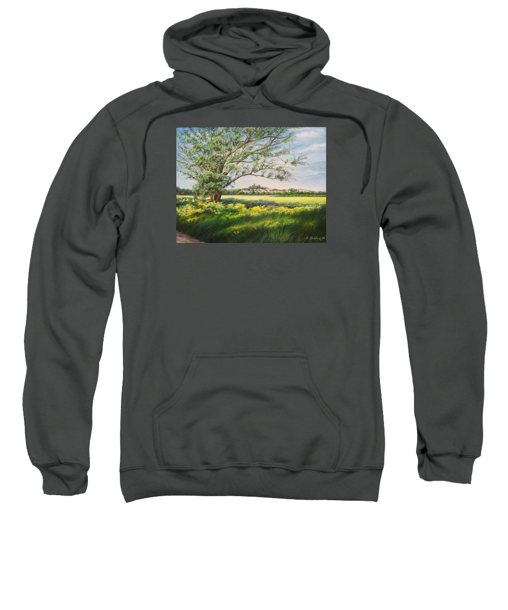 Landscape Sweatshirt featuring the painting Spring by Maya Bukhina