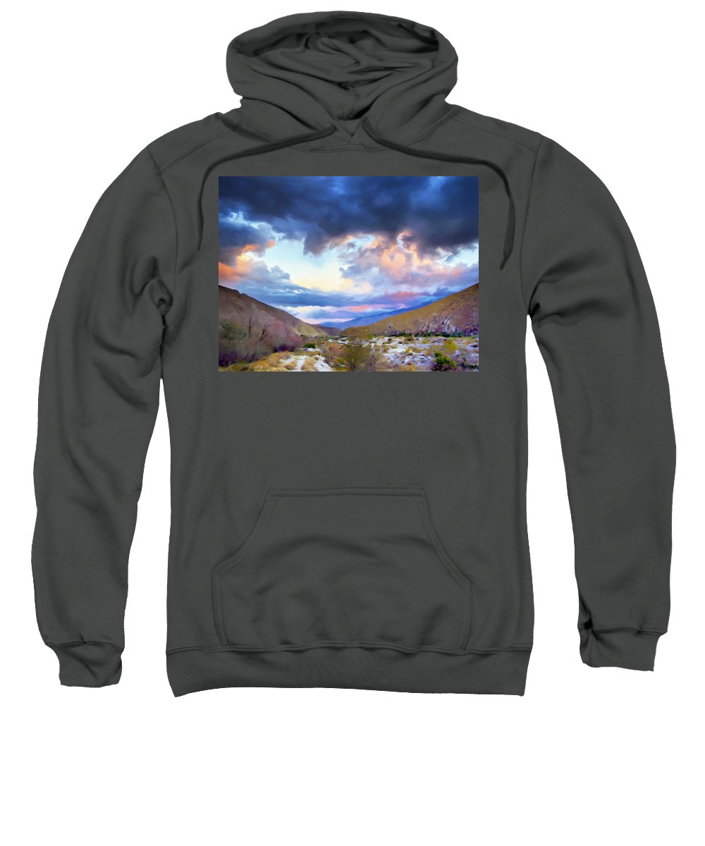Rain Sweatshirt featuring the painting Spring Rain At Whitewater Canyon by Dominic Piperata