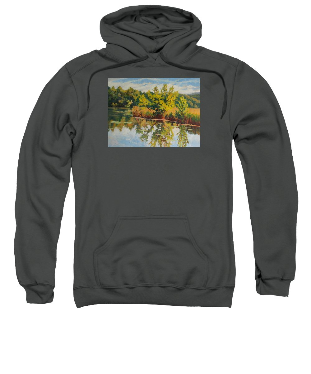 Impressionism Sweatshirt featuring the painting Spring Reflection by Keith Burgess