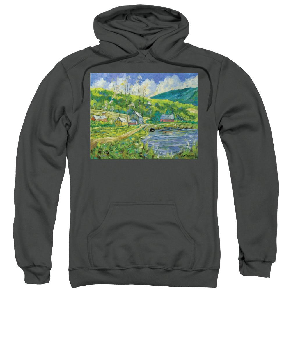 Landscape Sweatshirt featuring the painting Spring Scene by Richard T Pranke