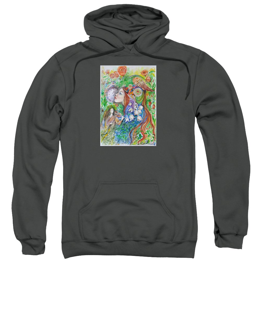Lilies Of The Valley Sweatshirt featuring the mixed media Spring Song by Rita Fetisov