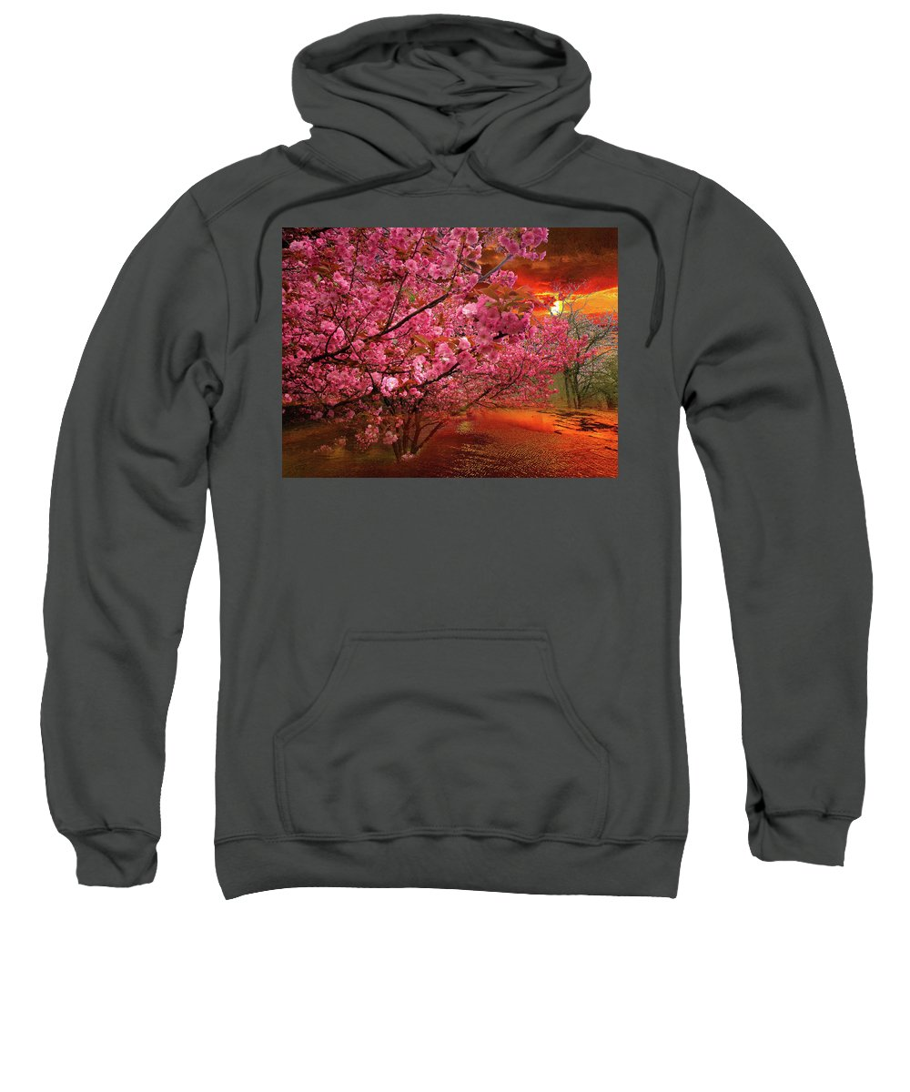 Spring Sweatshirt featuring the digital art Spring Sunset by Alex Lim