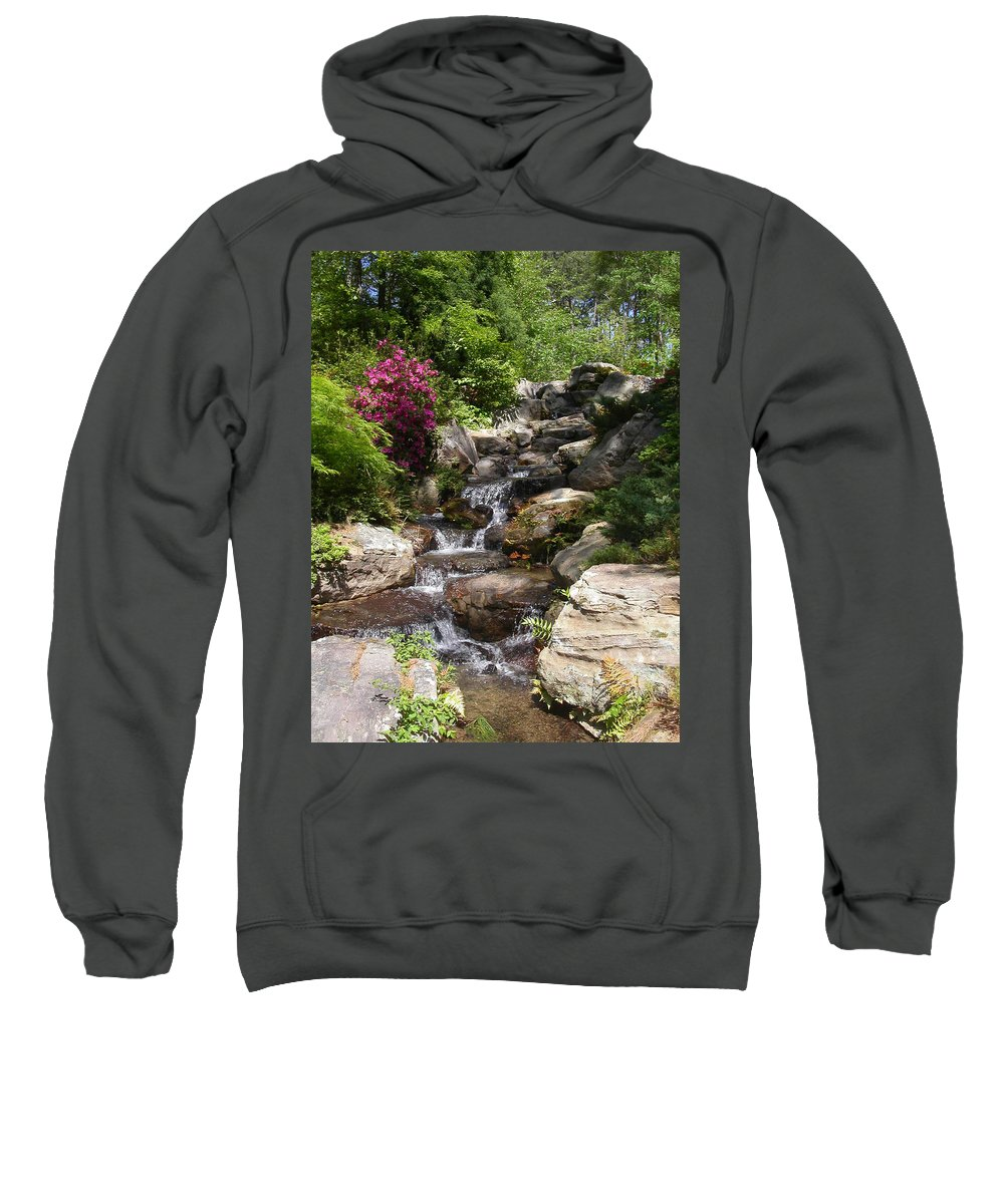 Spring Sweatshirt featuring the photograph Spring Waterfall by Anne Cameron Cutri