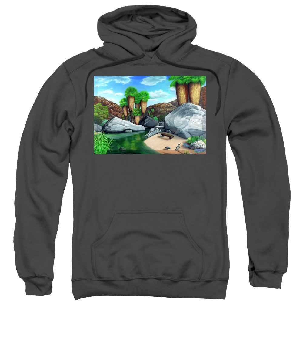 Landscape Sweatshirt featuring the painting Springtime In The Canyons by Snake Jagger
