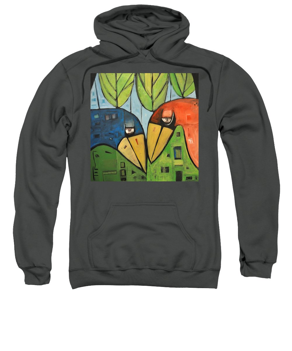 Birds Sweatshirt featuring the painting Springtime Lovebirds by Tim Nyberg