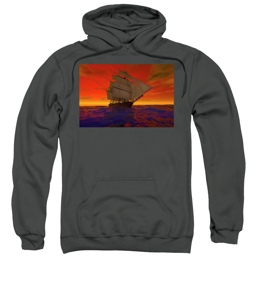 Adventure Sweatshirt featuring the digital art Square-rigged Ship At Sunset by Carol and Mike Werner